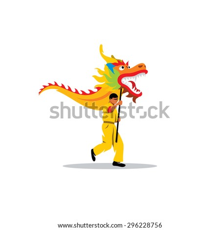 chinese dragon and a man