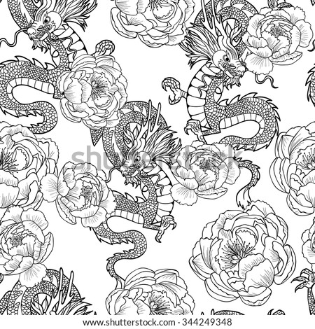 chinese dragon and peony