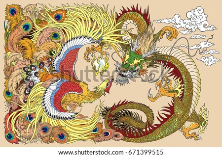 chinese dragon and phoenix feng