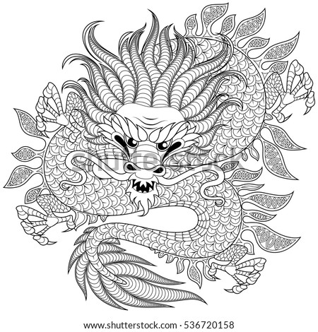 chinese dragon in zentangle
