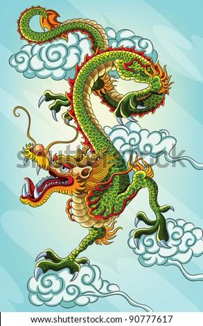 chinese dragon painting  eps 10