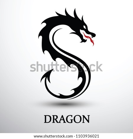 chinese dragon silhouette flat
