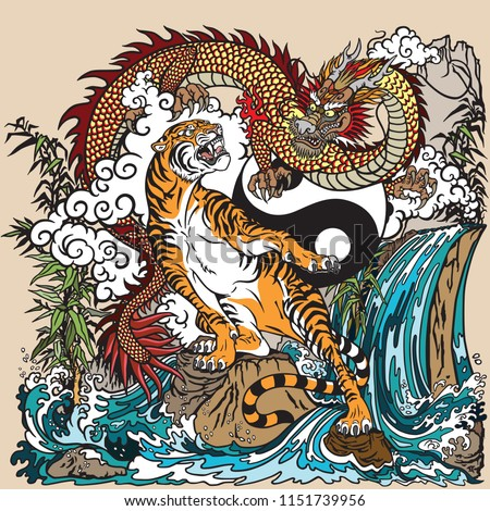 chinese dragon versus tiger in