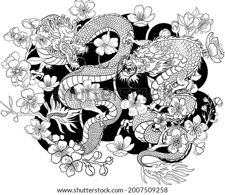 chinese dragon with peach