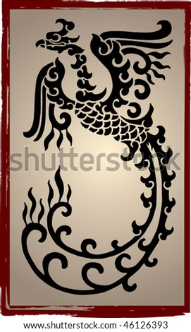 stock vector : Chinese Dragons Silhouette - Tattoo