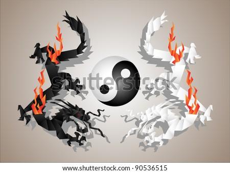 Chinese dragons yin and yang symbol concept.Vector paper art