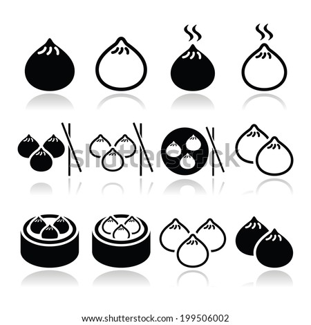 Chinese dumplings, Asian food Dim Sum vector icons set