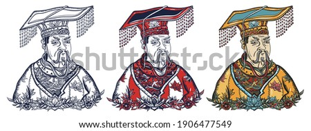 Chinese emperor portrait. Ancient China history and culture. Old school tattoo vector art. Hand drawn cartoon character set. Isolated on white. Traditional tattooing style Сток-фото ©