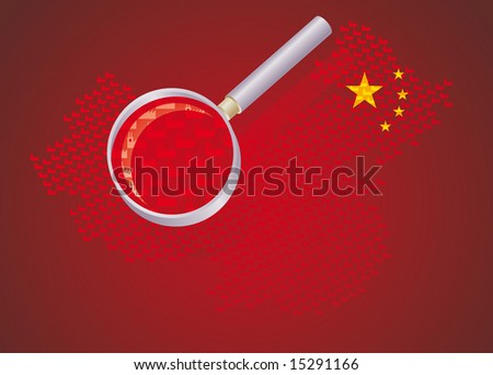chinese factories. Map of china made by little factories enlarged by a magnifying glass. Concept for the China's massive production industry.