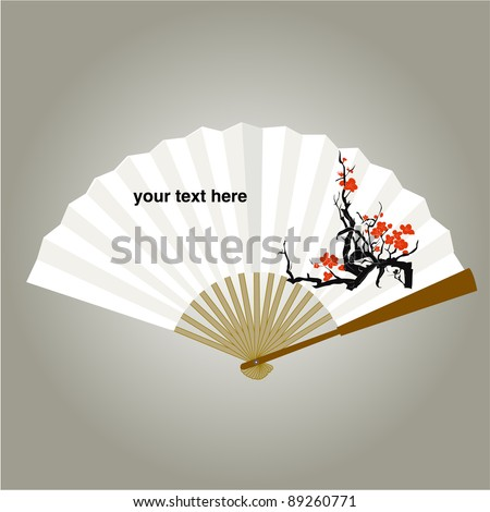 chinese fan painting vector