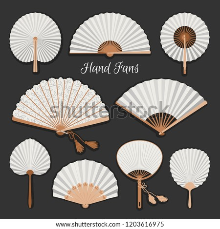 Chinese fans. Japanese traditional hand fan set vector illustration, vintage woman paper fans isolated