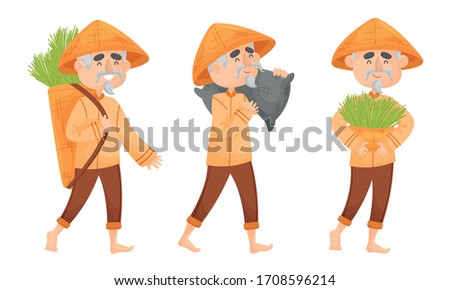 Chinese Farmer in Conical Hat Carrying Sacks with Green Grass Blades Vector Set