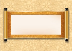 Chinese festive vector card with deployed ancient scroll. Golden floral pattern on scroll and on background. There is a place for your text, calligraphy or painting. Colored vector illustration.