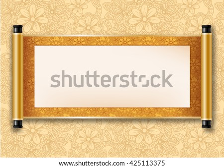 Colorful scroll graphics download free vector art stock graphics chinese festive vector card with deployed ancient scroll golden floral pattern on scroll and on stopboris Image collections
