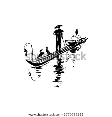 chinese fisherman on a boat