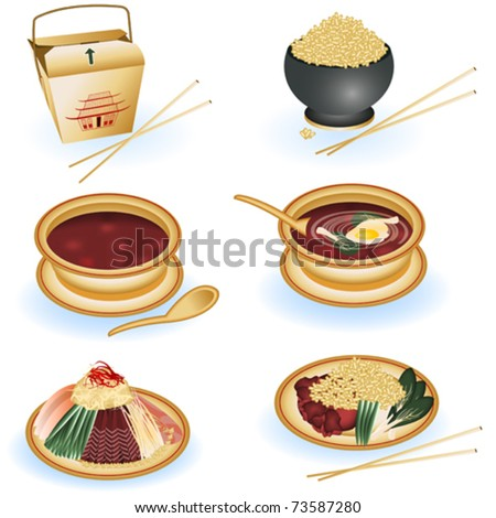 Chinese food illustrations - stock vector