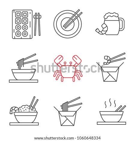 Chinese food linear icons set. Sushi, noodles, ramen, fried rice with seafood chopsticks, beer, crab. Thin line contour symbols. Isolated vector outline illustrations