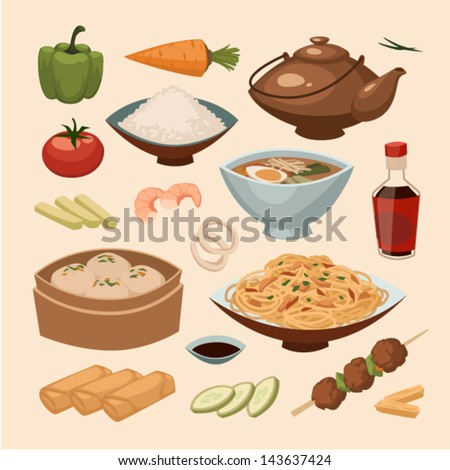 chinese food objects set