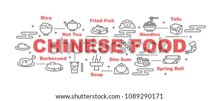 chinese food vector banner design concept, flat style with icons