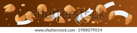Chinese fortune cookies. Set: open and closed fortune cookies. In the cookie have template of blank paper, write your wishes. Vector, isolated. ストックフォト ©