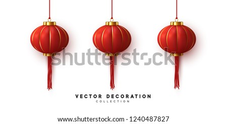 Chinese hanging red lanterns realistic isolated on white background