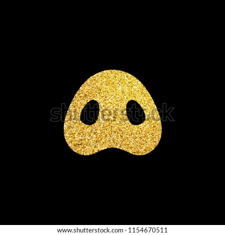 Chinese 2019 Happy New Year of a yellow pig, vector golden glitter pig snout isolated on black background.