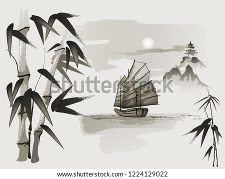 chinese junk boat sailboat