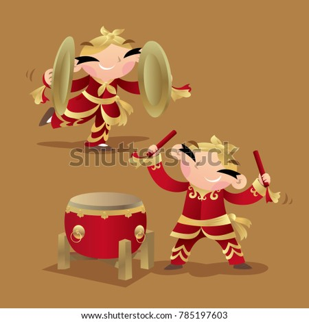 chinese kids playing drum and