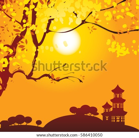 chinese landscape with branches