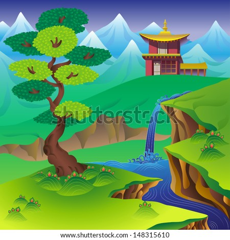 Chinese landscape with tree, waterfall, mountains and house.