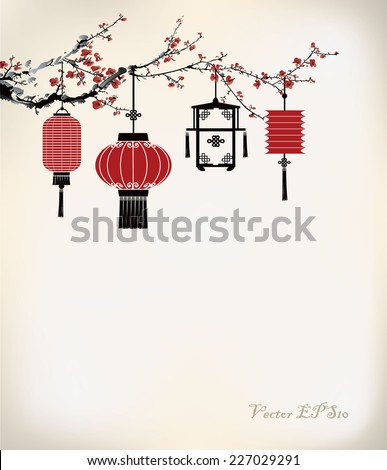 chinese lantern hang on cherry