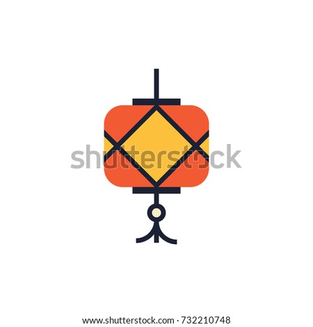 Chinese lantern icon. For decoration, greeting card, packaging, interior design.