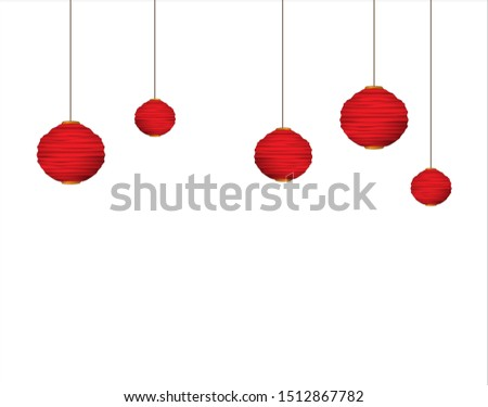Chinese lanterns, paper lamp, lampion. Red and gold traditional lantern. Vector. illustration.