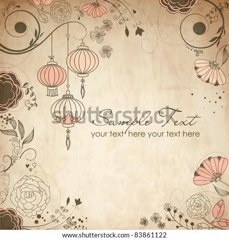 Chinese lanterns. Stylish floral background