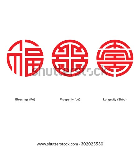 Chinese lucky symbols : Blessings, Prosperity and Longevity.