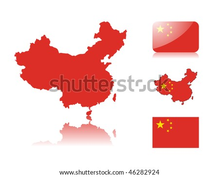 Chinese map including: map with reflection, map in flag colors, glossy and normal flag of China.