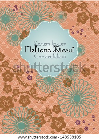 chinese motif background cherry blossom template vector/illustration