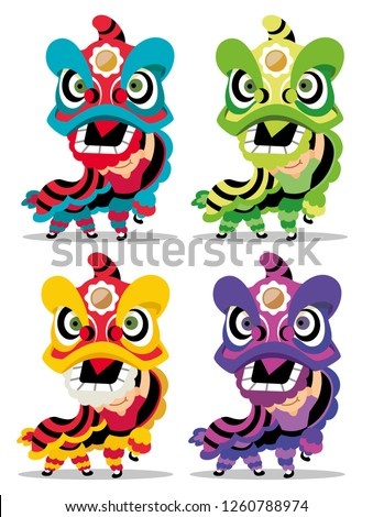 Chinese new year 2019. Colourful Lion Dance. 4 variation of Lion Dance. Vector illustration