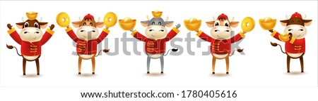 Chinese new year 2021 Cow holding a sign gold, Funny animal in the Chinese zodiac,Bull zodiac symbol of the year 2021. Chinese New Year character design concept. Year of the ox.