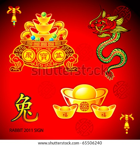 Chinese New Year decoration elements: gold, dragon, wishes, bell and Rabbit sign