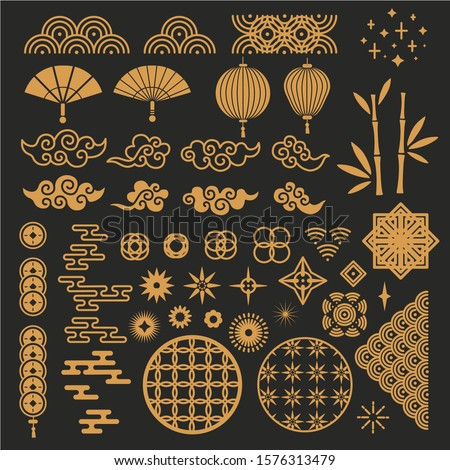 Chinese new year elements. Golden asian traditional pattern, cloud and decorative flower. Oriental lanterns, bamboo stem and fan vector set