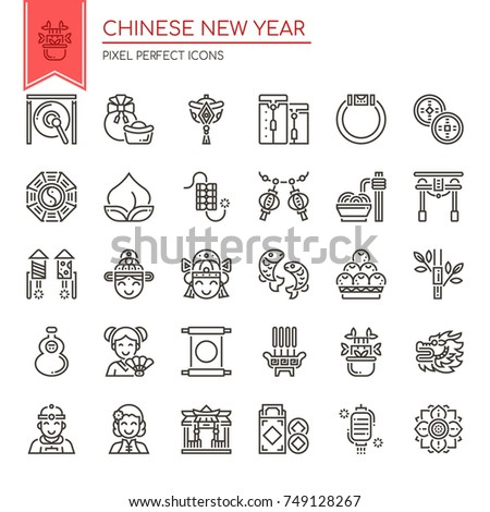 Chinese New Year Elements , Thin Line and Pixel Perfect Icons
