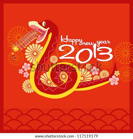2013 on Chinese New Year 2013   Greeting Card Design   Year Of Snake
