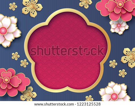 Chinese new year greeting card template with blossom flowers background and a window frame for your text.