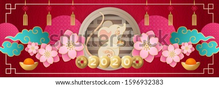 Chinese New Year 2020 wide banner. Cute Zodiac Rat character wishing you lucky and rich. Red and gold papercut, flowers, old coins and mandarins. Hieroglyphs mean: 'Kaiyuan Tongbao'