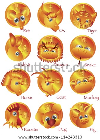 Chinese New Year Zodiac Horoscope Animals with text in Gold Circle Vector Illustration