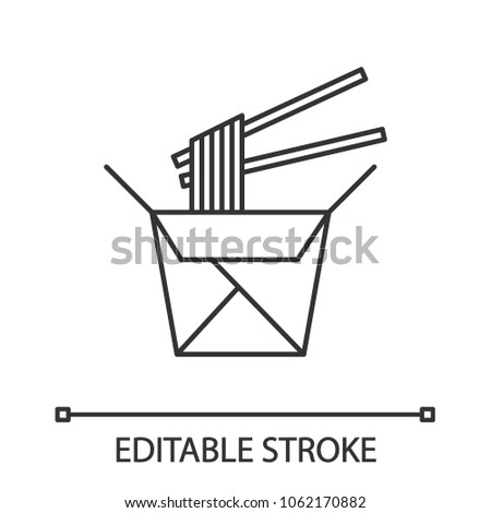 Chinese noodles in paper box and chopsticks linear icon. Thin line illustration. Wok noodles. Contour symbol. Vector isolated outline drawing. Editable stroke