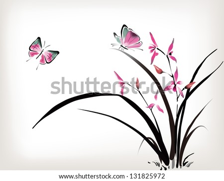 c7d4f1566 ... Chinese Orchid and butterfly ink style ...