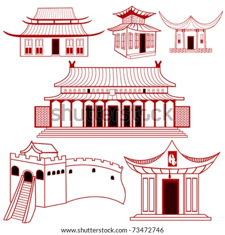 Chinese outlined traditional buildings