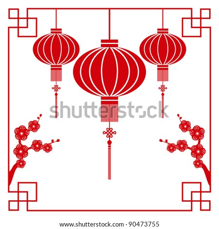 Chinese paper cutting motif chinese lantern and cherry blossom
